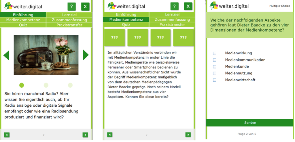 drei Screenshots des Lernmoduls zur Einführung in die Medienkompetenz